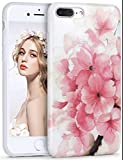 Imikoko iPhone7/8 Plus ケース アイフォン7 8 プラス カバー スマホケース case 保護カバー 花柄 おしゃれ 人気 かわいい ソフト 女子 携帯 (iPhone7 Plus 5.5, 桃花)