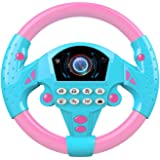 NUOBESTY Steering Wheel Toy Interactive Driving Wheel Toy Pretend Play Toy for Kids No Battery Pink Blue