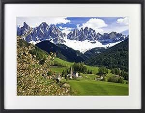 世界の絶景写真 クリスタルプリント 「春のフネ谷とアルプス」 木製フォトフレーム付 017