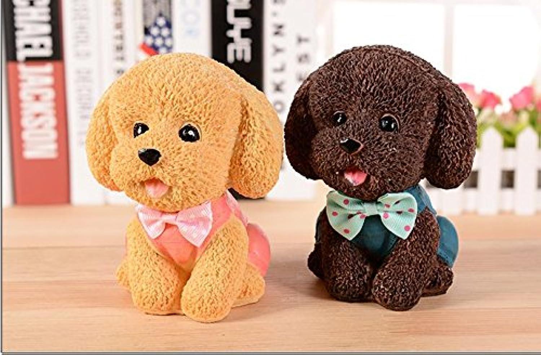 HuaQingPiJu-JP かわいいボウの子犬の貯金箱クリエイティブスプラウトの動物の変化ジャー樹脂の装飾品
