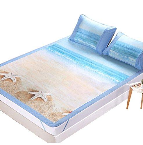 haplife ベッドシーツ 寝ござ むしろ 真夏に対応 涼しい 涼感 3点セット 枕カバー付き 折り畳み式 海風貝殻 3dジャカ一ド 厚くする夏用 通気 防カビ 防ダニ 汗取り快眠 滑り止め (ダブル)
