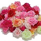 (アクテール)AQ-Terre バラ の 造花 花 部分のみ 直径 約 8センチ 50個セット 手芸 ハンドメイド 写真撮影 (50個・ミックスピンク)