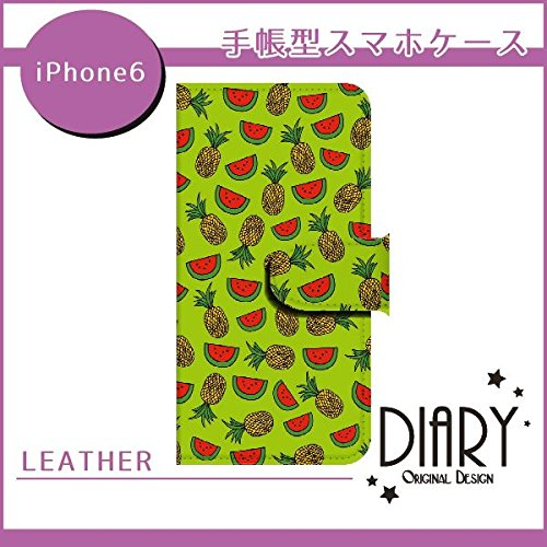 docomo iPhone6(4.7インチ) スイカとパイナップル(緑色) スマホケース ブック 手帳型 カバー ql622-v1340(緑色)