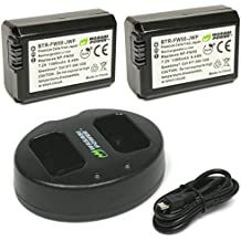 Wasabi Power KIT-BB-FW50-01 SLR Battery and Dual Charger for Sony NP-FW50, Black, 2 Pack
