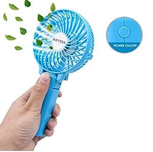 携帯扇風機 MAYOGA USB扇風機 折り畳み式 携帯ファン 手持ち/卓上置き両用 2200mA 充電電池式/usb コンセント 風量3段階調節 静音 6枚羽根 強風 傘の中に装着可能 クリップ付き (ブルー)