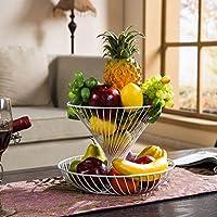 アイアンアートダブルレイヤーフルーツトレイ、多機能大容量フルーツバスケット、家庭用フルーツストレージシェルフ (色 : 白)