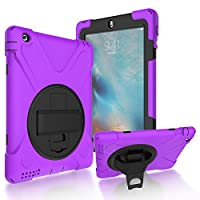 iPad 2/3/4 Back Case, DIGIC Hybrid PC Silicone Armor Defender Cover with Hand Strap 360 Degree Rotation Stander Full Protective Tablet Shell for Apple iPad 2/3/4, purple
