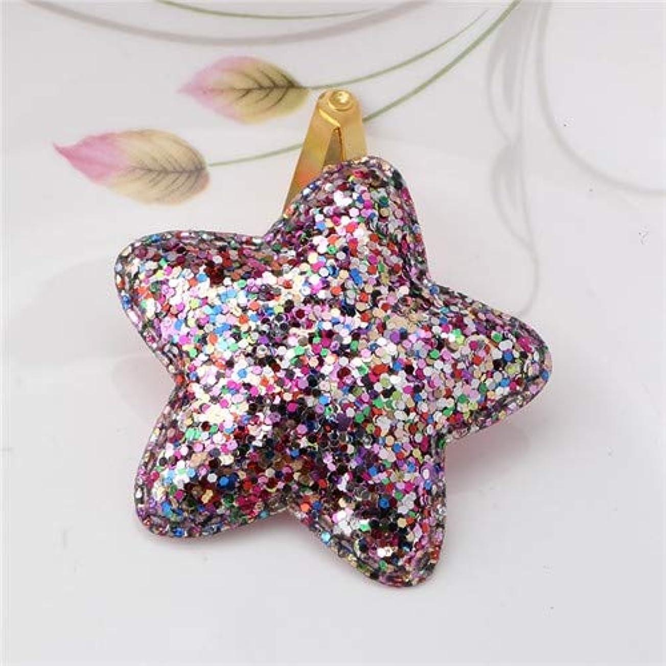 夢詩部族Hairpinheair YHM 2個メタルカラー子供シャイニーヘアグリップベビーヘアピンガールズヘアアクセサリー、サイズ:4.7cm(ピンクバタフライ) (色 : Colorful Star)