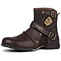 OTTO ZONE Leather Chukka Boots Biker Boots Motorcycle Leather Shoes for Men Zipper-up Casual Low Boots Western Cowboy Boots Casual Shoes OZ-5008-1-N