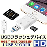 MNoel iPhone iPad カードリーダー Flash device HD SD TF カード USB microUSB Lightning
