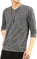(アーケード) ARCADE メンズ 春 夏 スラブボーダー 7分袖 半袖 Vネック カットソー Tシャツ