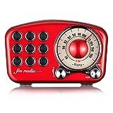 レトロ Bluetoothスピーカー FMラジオ ワイヤレスステレオレトロスピーカーFM FM付きラジオブルートゥーススピーカーラジオミニポータブルブルートゥースヴィンテージスピーカーusb付き3.5 mmオーディオ入力ジャックレッドブルートゥース4.2 TFカードポート 大音量クリスタルクリアステレオサウンド