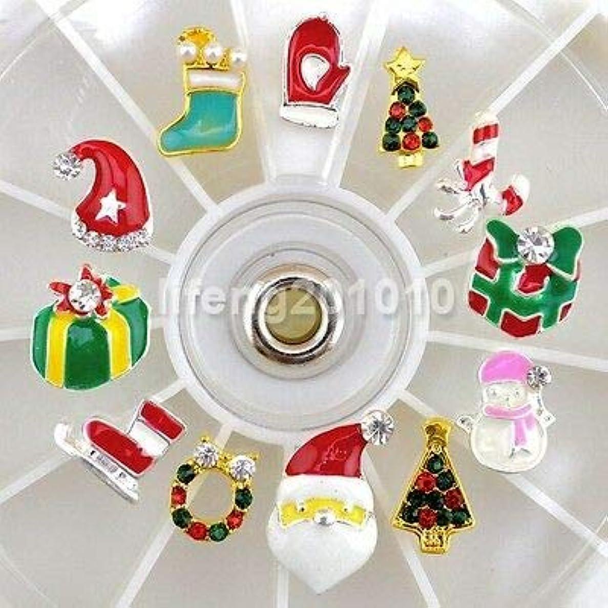 換気相反する変化FidgetGear クリスマスデザインメタルネイルアートデコレーションツール合金ラインストーンデカールホイール