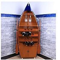 DaoYuan ダークチェリー船キャビネット、ローズウッド船ワインキャビネット ウッドマホガニー、ビンテージ木製船ワインキャビネット ホーム用船ワインキャビネット バー用船ワインキャビネット 船ワインキャビネット家具 140cm高さ船ワインキャビネット