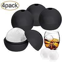 4パック柔軟性&耐久性シリコン球ラウンドアイスキューブ金型、Makes 2.5インチIce Balls one size B07C2GM17Z