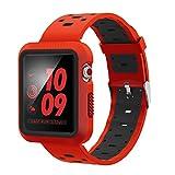 VICARA for Apple Watch Band バンド 高級シリカゲル素材+赤縞ストライプ デザイン +柔らか運動型Nike Series 3/Series 2/Series 1 に対応するウォッチバンド(42mm 赤&黒) VIJP_APPLEAWTC