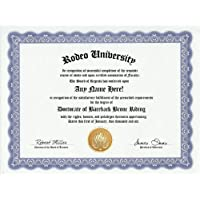 Bareback Bronc Riding Bronco Rodeo Degree: Custom Gag Diploma Doctorate Certificate (Funny Customized Joke Gift - Novelty Item) by GD Novelty Items [並行輸入品]