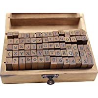 Resulzon 70pcs Mini Lovely Alphabet Stamps Vintage Wooden Rubber Letter Number And Symbol Stamp Set For DIY Craft Card Making Happy Planner Scrapbooking Supplies