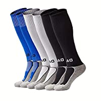 Kids Soccer Socks Boys Girls Knee High Long Sport Compression Football Socks (Black&White&Blue) [並行輸入品]