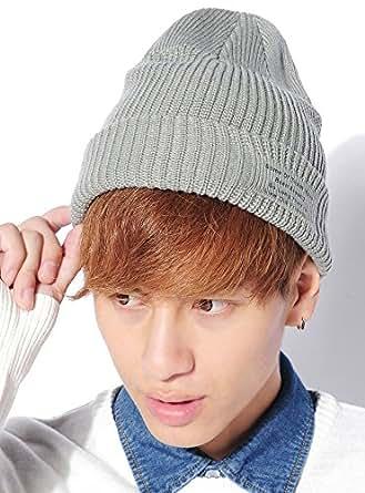 グレー F (ベストマート)BestMart メッセージロゴ リブ ニット帽 ニット帽 ビーニー帽 ビーニー帽子 ニット ケーブル編みニット帽子 ケーブル編みニット帽 618992-010-101