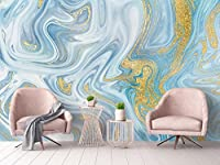 Mbwlkj 現代の写真の壁紙 3Dテクスチャの壁がエレガントなリビングルーム、ベッドルームの内装が施されている青白の壁紙の豪華な黄金の壁の壁画-400Cmx280Cm