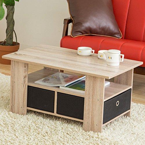 【お得な収納ケース2個付き使いやすいセンターテーブル】(80×48cm)すっきり片付く収納テーブル中下段で3分割木製ローテーブル訳有り(ホワイトウォッシュ色)