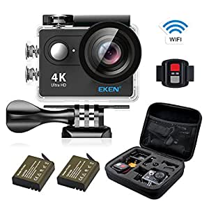 EKEN H9R アクションカメラ 4K高画質 WiFi搭載 30M防水「メーカー直販/1年保証付」 2インチ液晶画面 Full HD 25fps録画 ループ録画 リモコン付き 170度広角レンズ 映像再生 自撮り棒 高品質バッテリー2個 専用ケース ドライブレコーダーとして使用可能 ウェアラブルカメラ 日本語対応 スポーツカメラ 防犯カメラ 完備セット(ブラック)