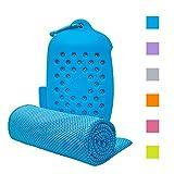 ASKARI 冷感タオル 冷却タオル クールタオル 速乾タオル 超吸水 軽量 スポーツタオル 熱中症対策 100×30cm 7色 (ライトブルー)