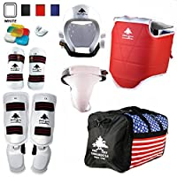 パインツリーCompleteビニールMartial Arts Sparring Gear Set withバッグ、Shin Insteps、& Groin完了CompleteビニールMartial Arts Sparring Gear Set withバッグ、Shin Insteps、& Groin 5 - Female, Adult X-Large
