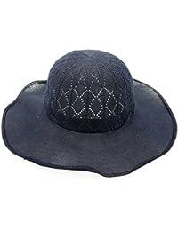 XZP 夏のストロー帽子、女性のための綿の織りストロービッグウェーブブリムサンハットフロッピーFoldable麦わら帽子