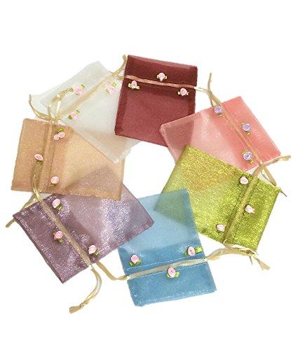 上質 お花 付き オーガンジー 巾着 袋 ラッピング 小物 収納 選べる カラー (1.アソート 7色 M)