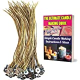 CozYours 100 pcs 20cm Organic Hemp Candle Wicks; 100% Natural Beeswax; PRE-Waxed, Tabbed, Candle Wicks for Candle Making. Can