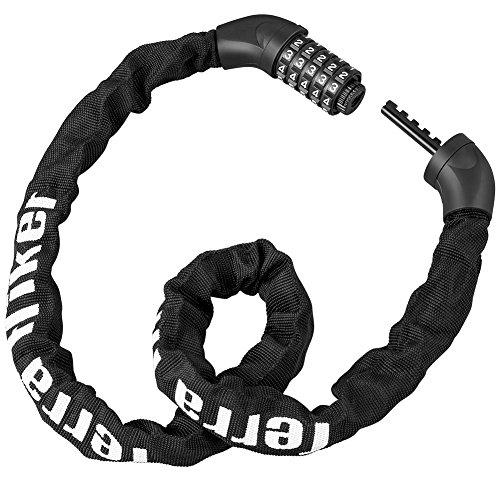 Terra Hiker 自転車ロック 5桁 全長100cm ケーブルロック パスワード自由設定 スチールロック チェーンロック バイク用 ブラック