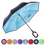 CarBoys 長傘 逆さ傘 逆折り式傘 手離れC型手元 耐風傘 撥水加工 晴雨兼用 ビジネス用 車用 UVカット遮光遮熱 傘ケース付き(ブルー)