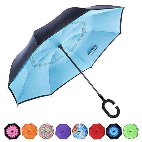 RoomClip商品情報 - CarBoys 長傘 逆さ傘 逆折り式傘 手離れC型手元 耐風傘 撥水加工 晴雨兼用 ビジネス用 車用 UVカット遮光遮熱 傘ケース付き(ブルー)