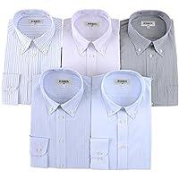 (パリス) PARIS 全8タイプ ビジネス ボタンダウン 長袖 シャツ ワイシャツ 5枚 セット 綿45% なので生地が薄くなく ゆったり着れる Yシャツ Oldani ポリエステル 洗える ネクタイ 1本 プレゼント