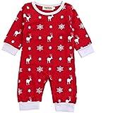 杜屋トヤ クリスマス 新生児服 ベビーロンパース かわいい鹿プリント長袖カバーオール ルームウェア 赤ちゃん プレゼント 0-18M