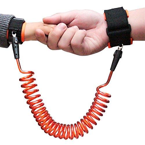 Ejiubas 迷子防止紐 迷子紐 ハーネス子供 安全ベルト 長さは1.5m ハンドベルト お出かけ用品 手つなぎ補助帯 幼児 子供用品 1歳から~12歳まで 青/オレンジ色   (1.5, オレンジ)