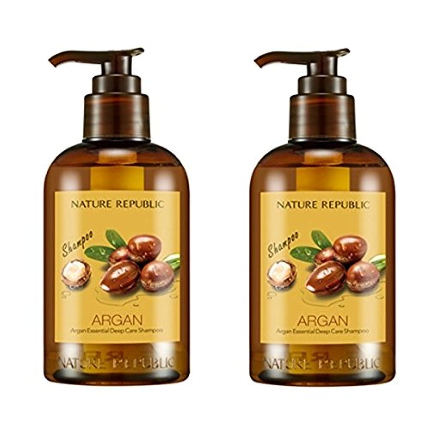 融合意気込みスクラブネイチャーリパブリック(NATURE REPUBLIC) アルガン エッセンシャル ディープ ケア シャンプー x 2本 (Argan Essential Deep Care Shampoo x2pcs Set) [並行輸入品]
