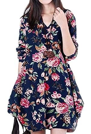 【Smile LaLa】 レディース ワンピ ワンピース 花柄 カジュアル チュニック 長袖 ゆったり フレア ネイビー ベージュ (M, ネイビー)