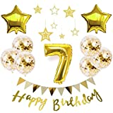 【Shiseikokusai 】 HAPPY BIRTHDAY 風船 星バルーン アルミニウム 数字(7) お子様誕生日パーティー 豪華 誕生日 飾り付け セット ゴールド(yj-xx07)