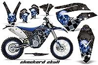 Husaberg FE FS 4506702009–2012MXダートバイクグラフィックキットステッカーデカールCheckeredスカルブルーブラック