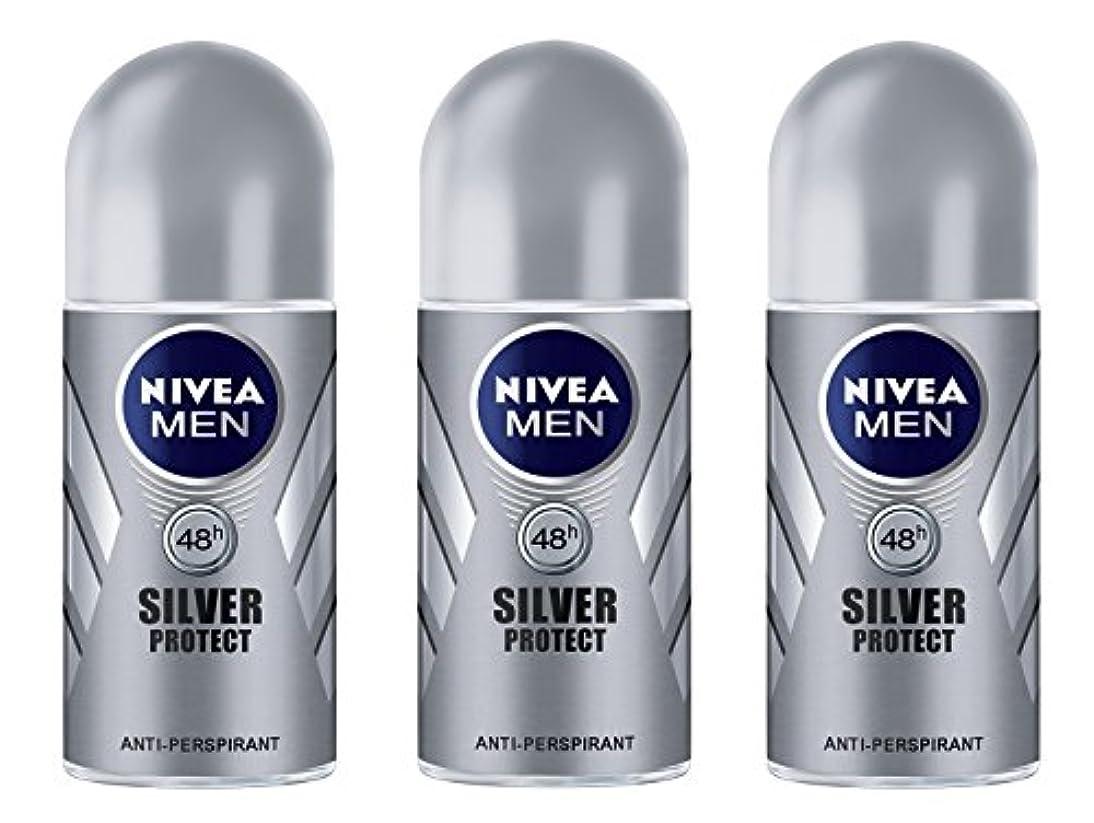 経営者時々古風な(Pack of 3) Nivea Silver Protect Anti-perspirant Deodorant Roll On for Men 3x50ml - (3パック) ニベア銀保護する制汗剤デオドラントロールオン...