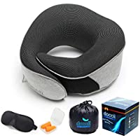 Neck Pillow for Traveling, Compact Memory Foam, Sweat-Resistant Fabric - Grey Ergonomic Pillows with Sleep Mask and Ear Plugs - Travel Kit for Flying, Driving, Buses, Trains, Camping