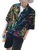 アロハシャツ 半袖 大きいサイズ カラフル 総柄プリントシャツ グラストア(Glestore)黒 M