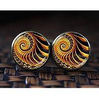 Golden Fractal cufflinks, Fractal cufflinks, Fractal jewelry, Fibonacci Spiral cufflinks, Golden Ratio, Sacred geometry cufflinks