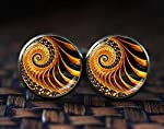 Golden Fractal cufflinks, Fractal cufflinks, Fractal jewelry, Fibonacci Spiral cufflinks, Golden Ratio, Sacred geometry...