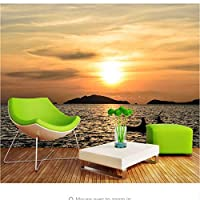 Weaeo カスタム3D壁ロマンチックウォームシーサイド風景テレビの背景壁の夕日海の景色リビングルームの壁紙写真-250X175Cm