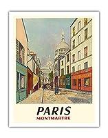 パリ、フランス - モンマルトル - 聖心 - ルーデュシュヴァリエ・デ・ラ・バレ - ビンテージな世界旅行のポスター によって作成された モーリス・ユトリロ c.1953 - アートポスター - 28cm x 36cm