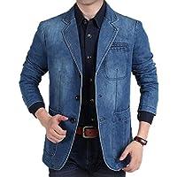 FSSE Mens Casual Business Washed Denim Blazer Jacket Coat with Pockets